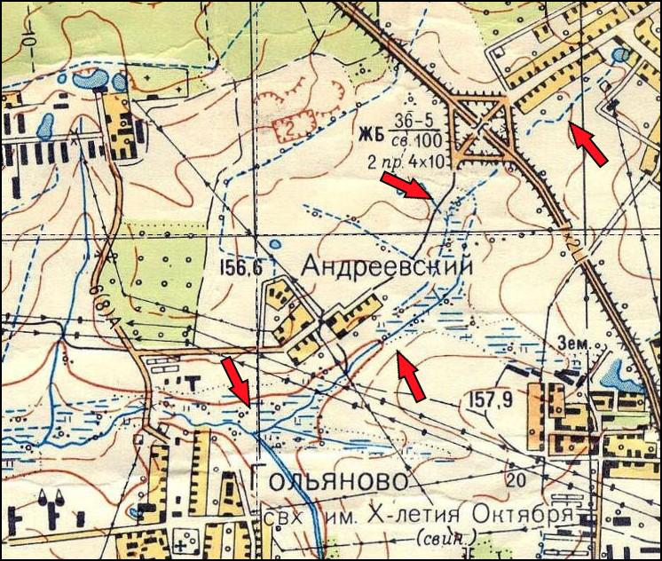 Абрамцевский ручей на карте Москвы 1968-го года